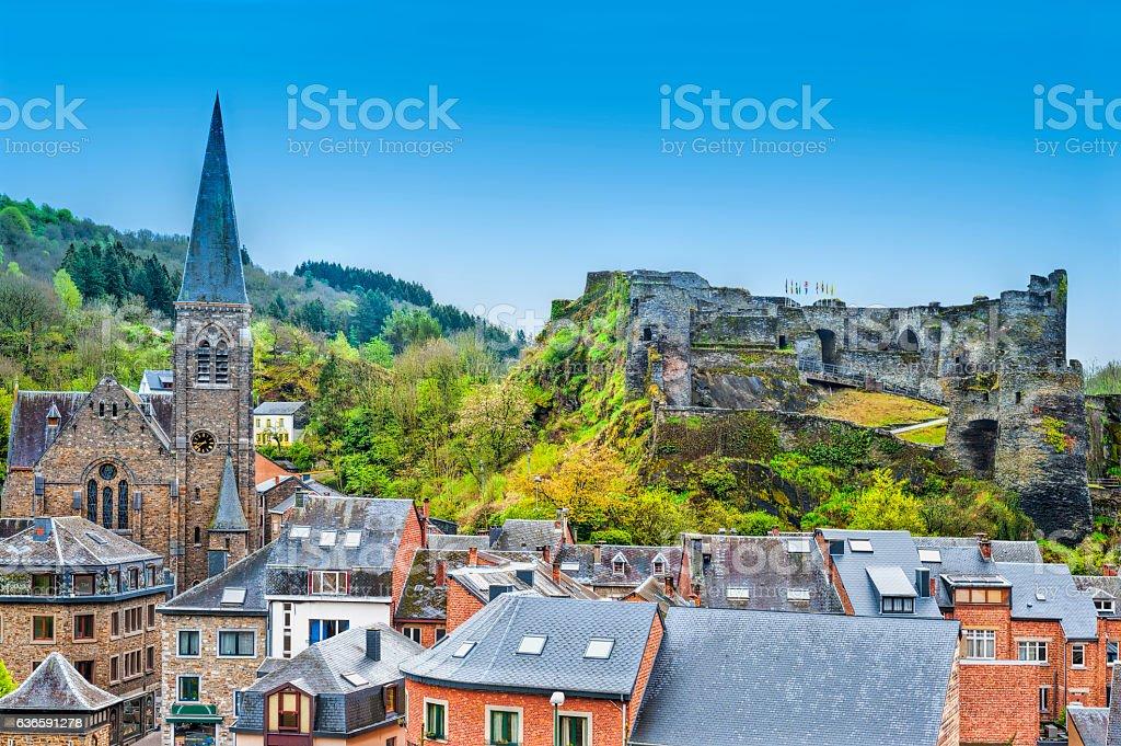Church and the Castle of La Roche. stock photo