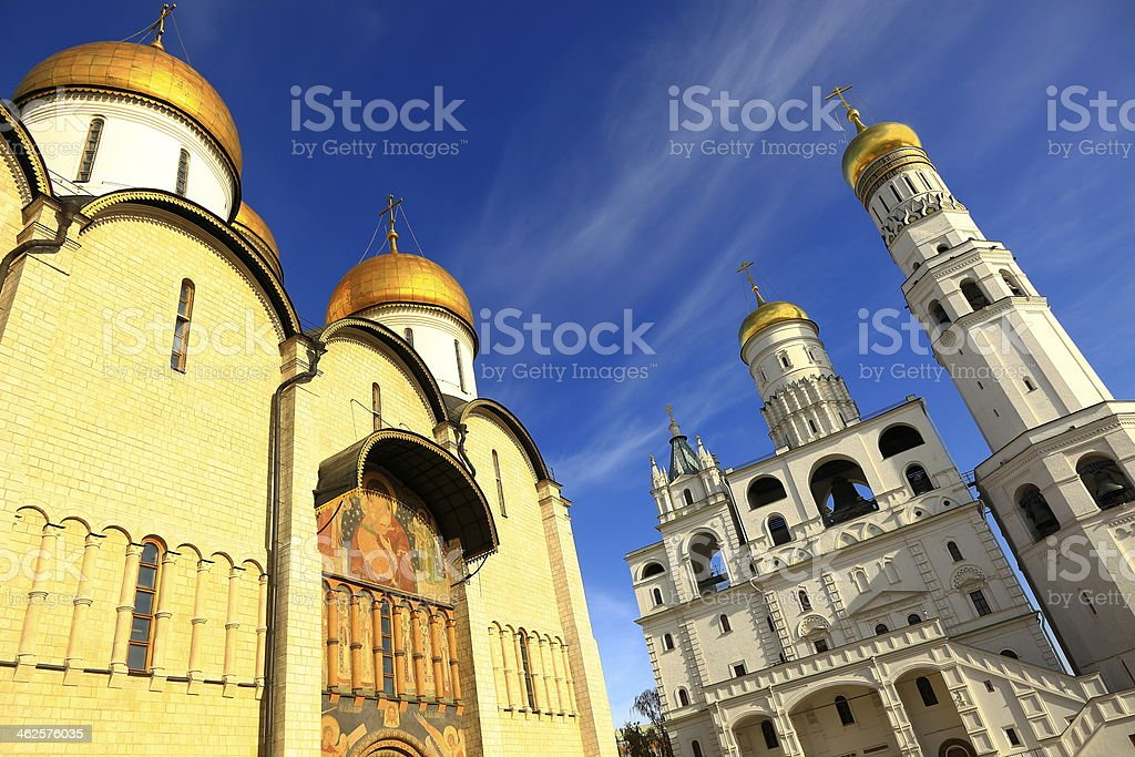 Church and Tower golden domes in Kremlin - Moscow, Russia stock photo