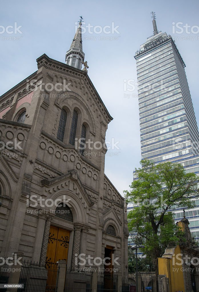 Church and tower (Iglesia y torre) stock photo