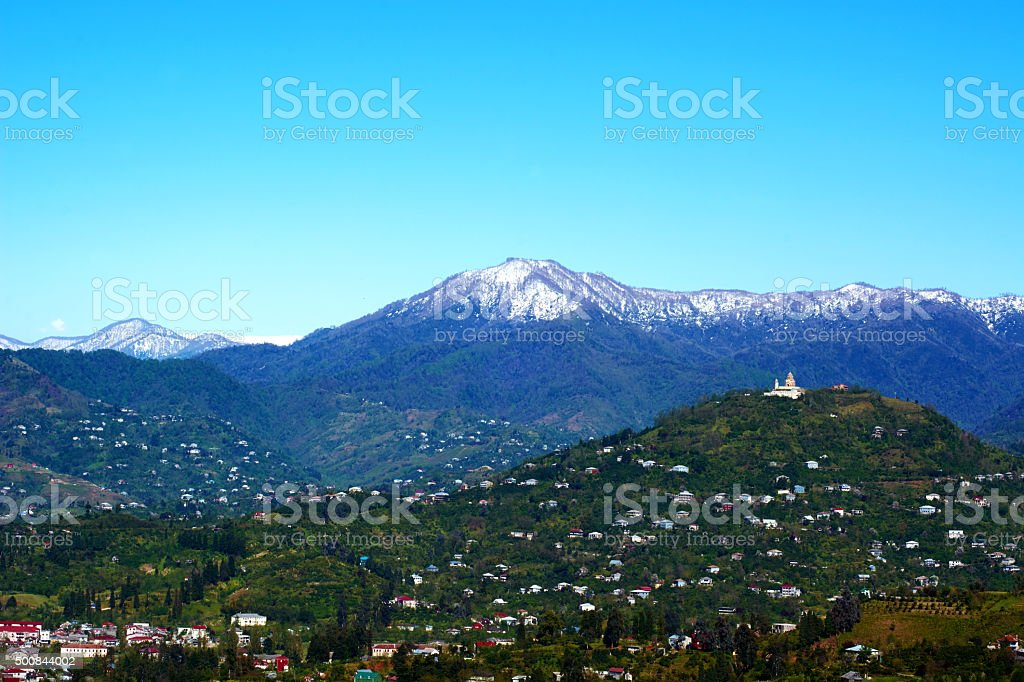 Church And Town In Mountains, Georgia, Batumi stock photo