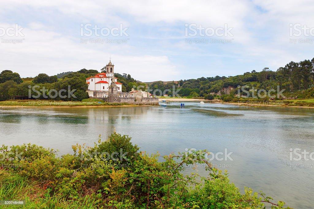 Church and village cemetery 'Niembro' in Asturias, Spain stock photo