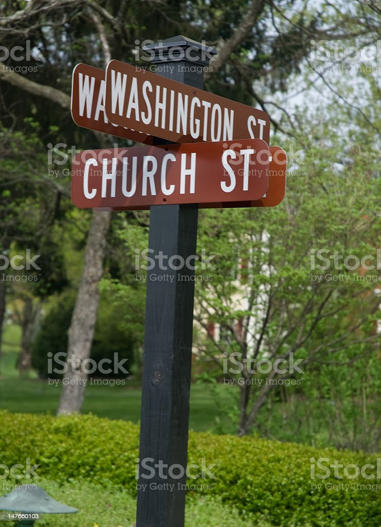 Church and Washington Streets royalty-free stock photo