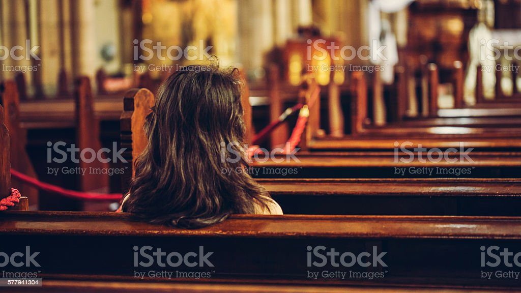 church and woman stock photo