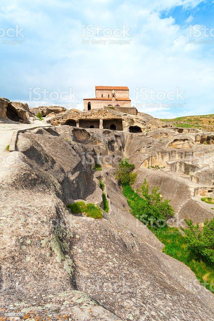 Church Apostoli. The cave city. Uplistsikhe. Georgia. stock photo