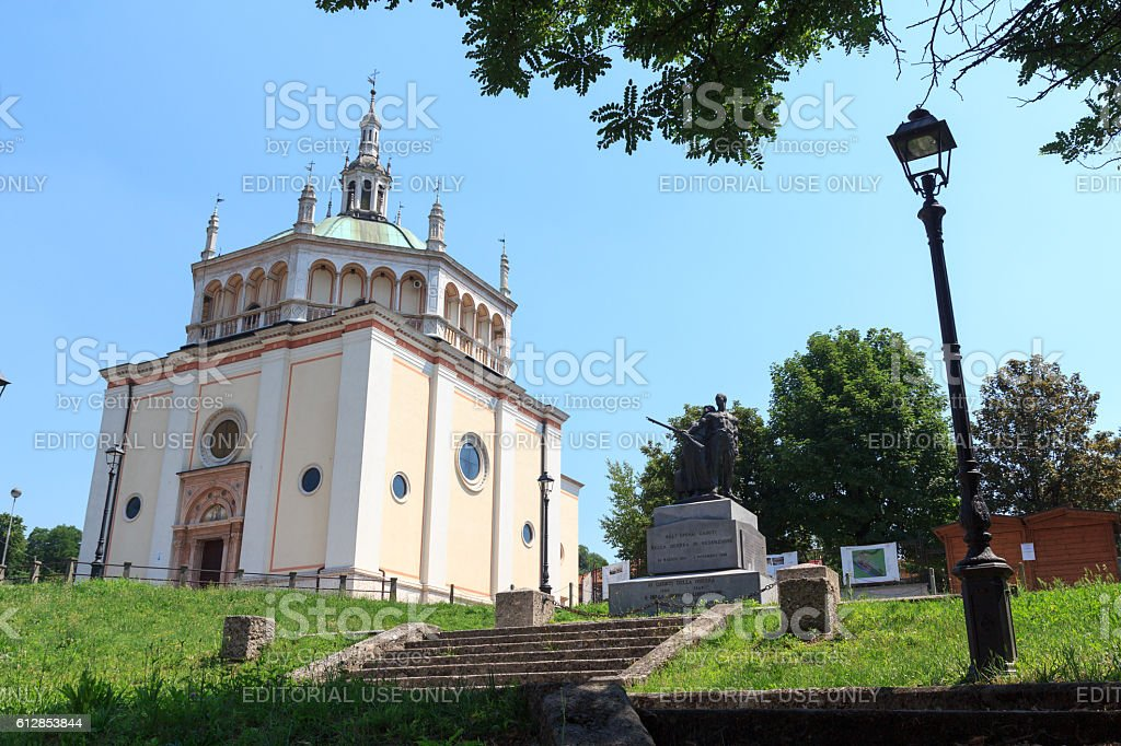 Church at historic industrial town Crespi d'Adda, Lombardy, Italy stock photo