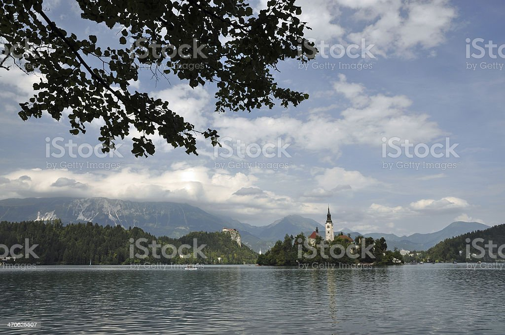 Church at Lake Bled stock photo