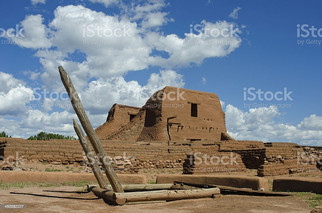 Church at Pecos National Historical Park stock photo
