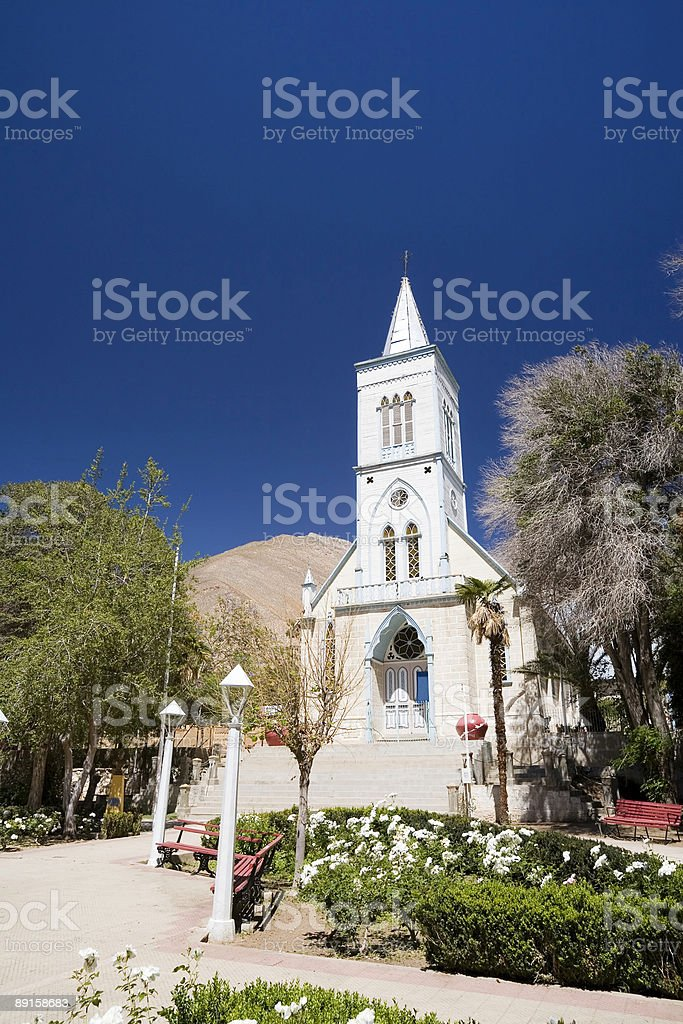 Church at Pisco Elqui, Chile stock photo