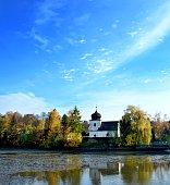 Church at pond
