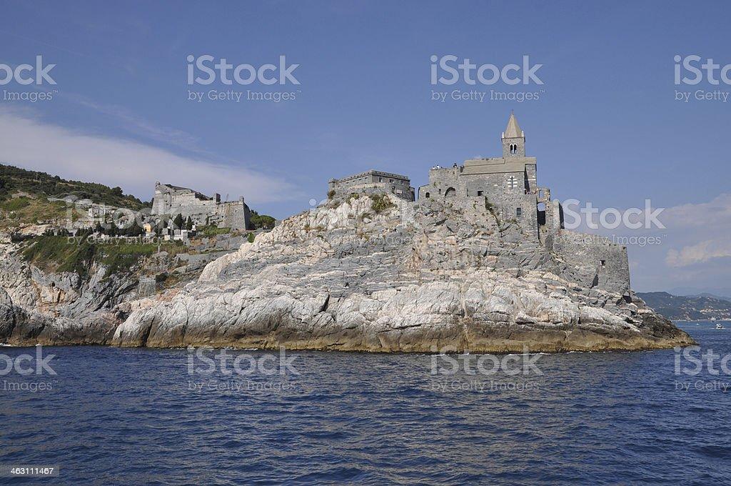 Church at Porto Venere, Italy stock photo