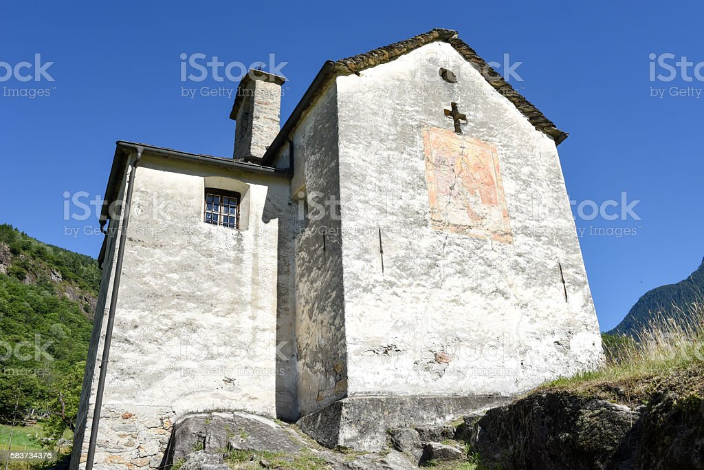 Church at Semione on Blenio valley stock photo
