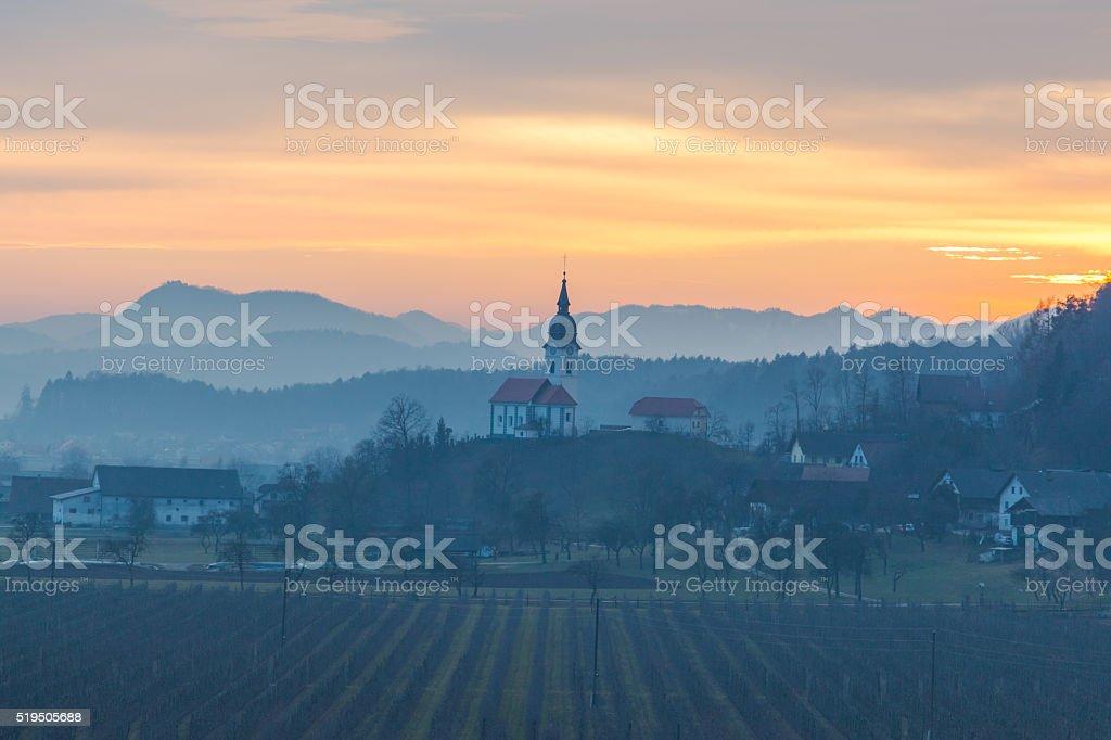 Church at sunset. stock photo
