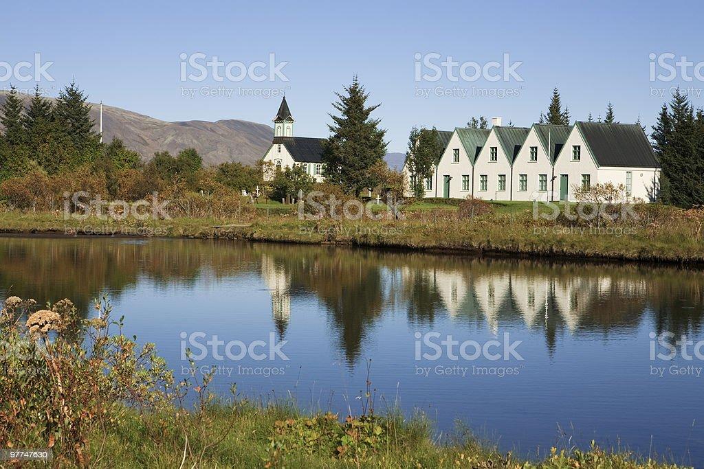 Church at Thingvellir lake in  Iceland stock photo
