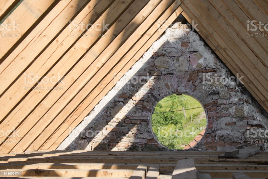 Church attic stock photo