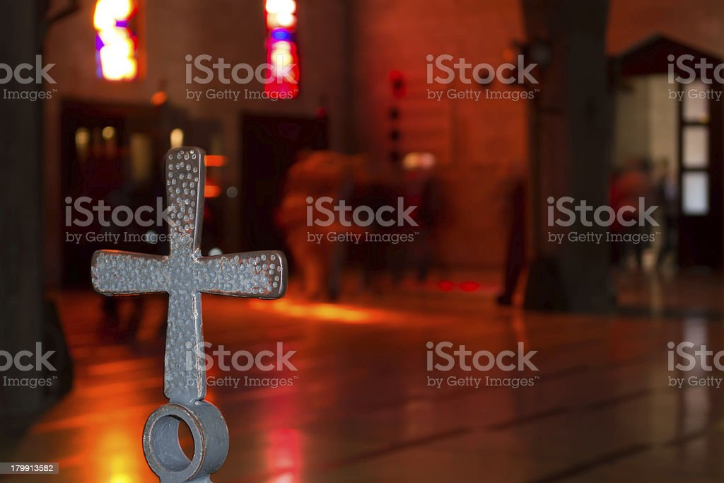 Church background with a cross royalty-free stock photo