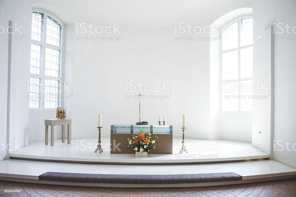 Church before a wedding ceremony stock photo