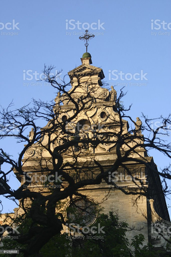 Church behind tree royalty-free stock photo