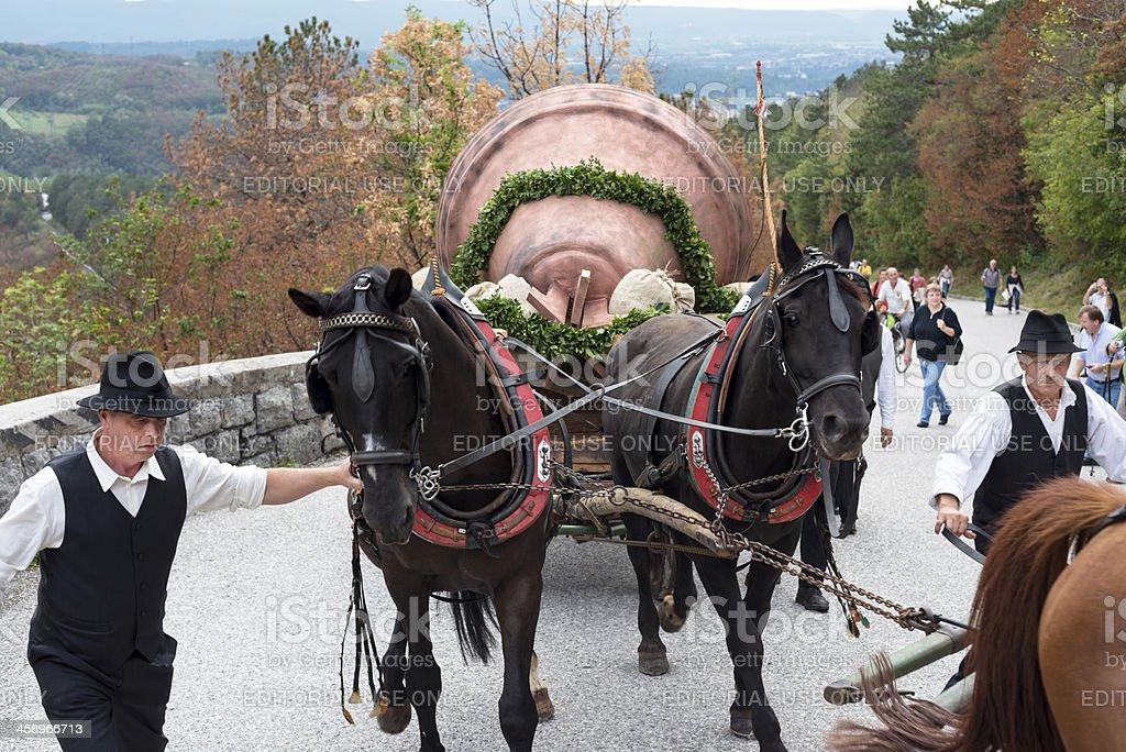 Church Bell on Its Way to Sveta Gora Slovenia Europe stock photo
