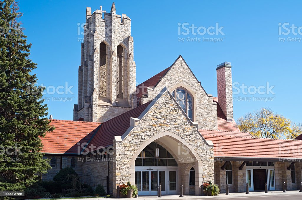 Church Bell Tower and Entrance stock photo