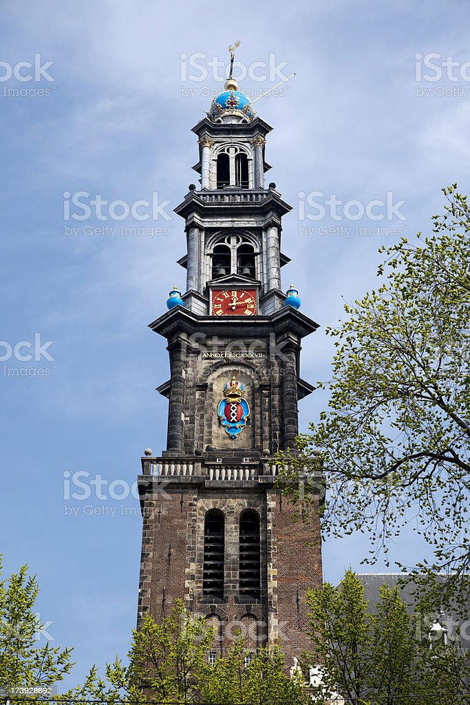 Church Bell Tower in Amsterdam stock photo