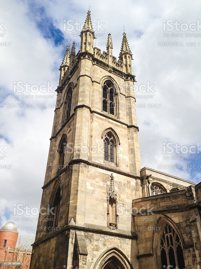 Church bell tower in Hull stock photo