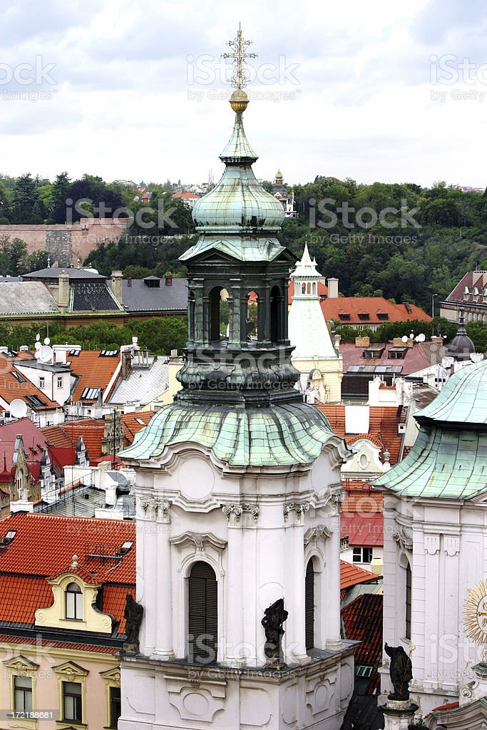 Church Bell Tower Prague Czech Republic royalty-free stock photo