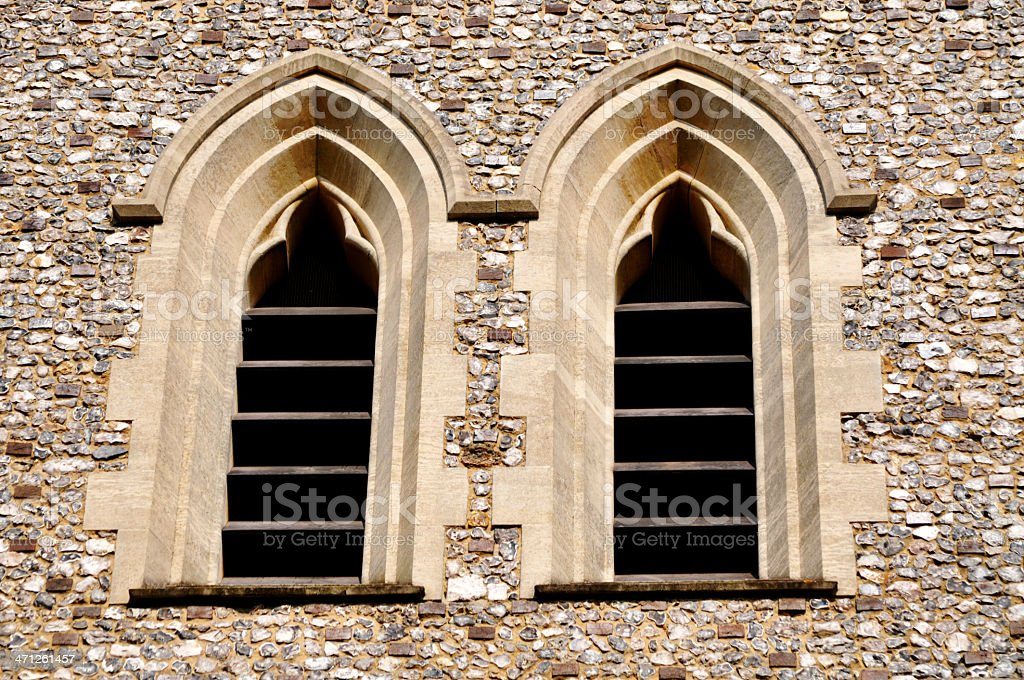 Church Bell Tower Window Vents royalty-free stock photo