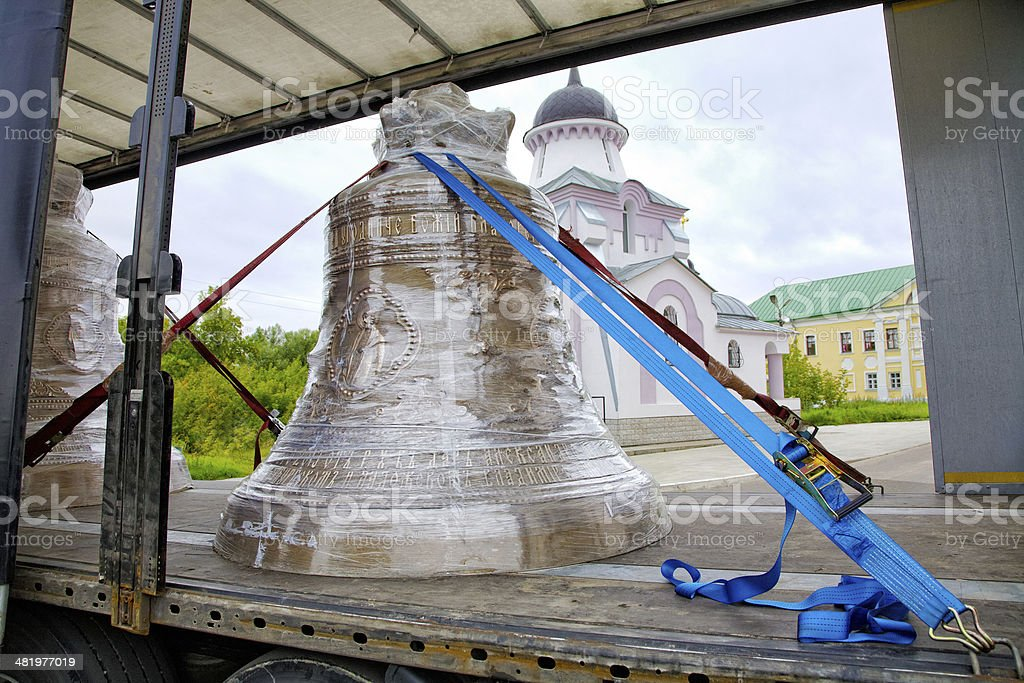 Church bell transport by the truck royalty-free stock photo