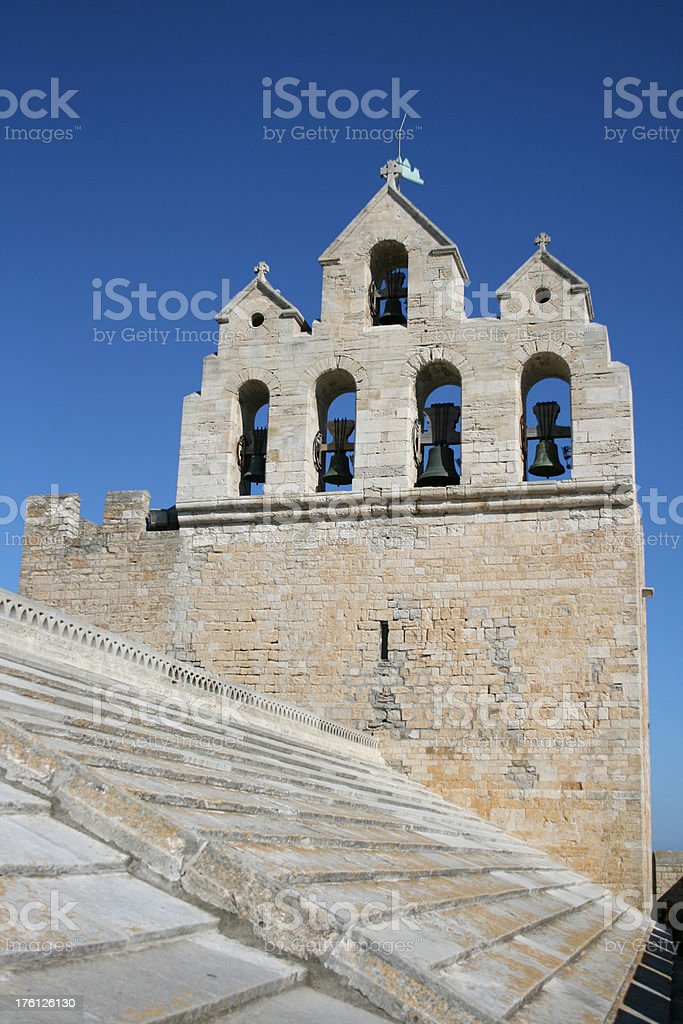 Church bells of Saintes-Maries-de-la-Mer in France Camargue royalty-free stock photo