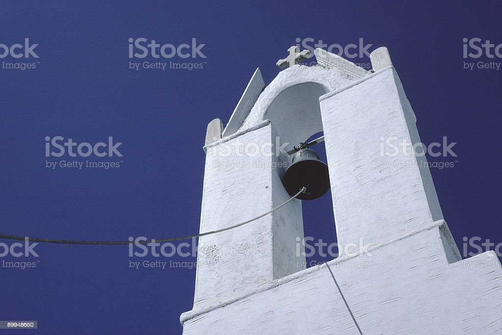 Church Belltower, Paros, Greece stock photo