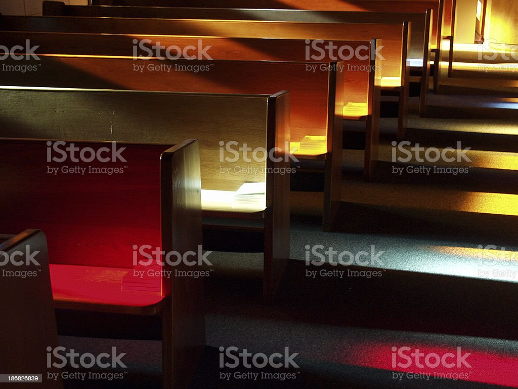 Church Benches at Sunset stock photo