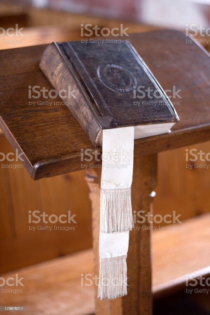 Church bible on lectern stock photo