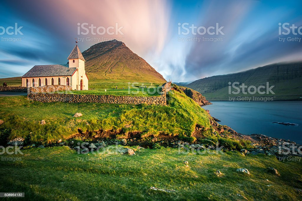 Church Bordoy, Múli, Faroe Islands stock photo