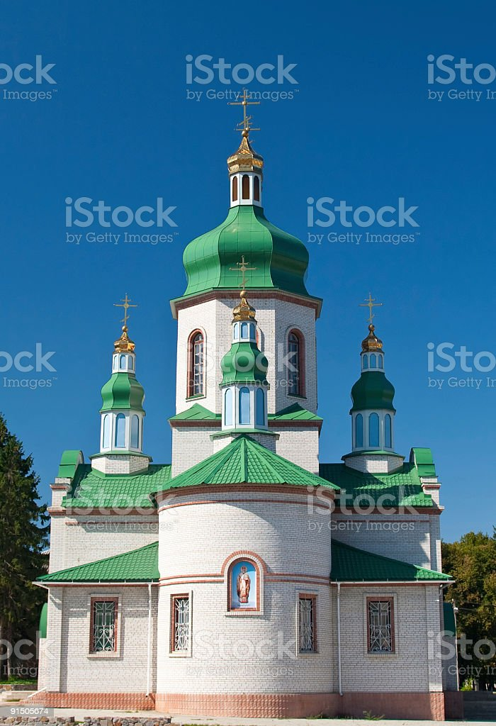 Church buildind on bright sunny day. stock photo