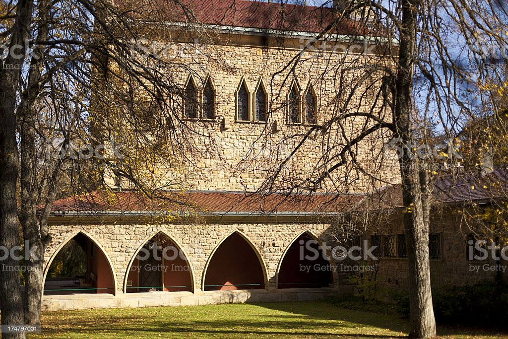 Church building close to a cementry stock photo