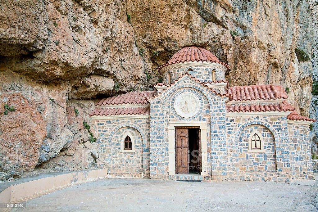 Church built under the rock stock photo