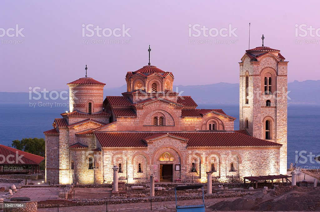 Church By Night In Old Ohrid, Republic Of Macedonia stock photo