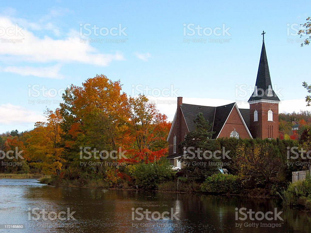 Church by the lake royalty-free stock photo