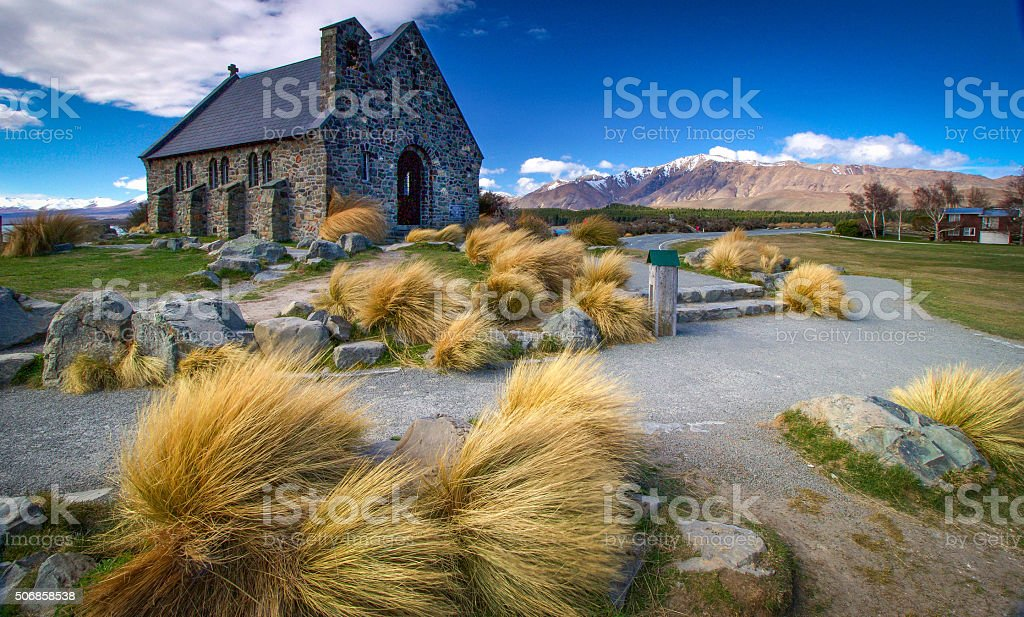 Church by the Tekapo Shore stock photo