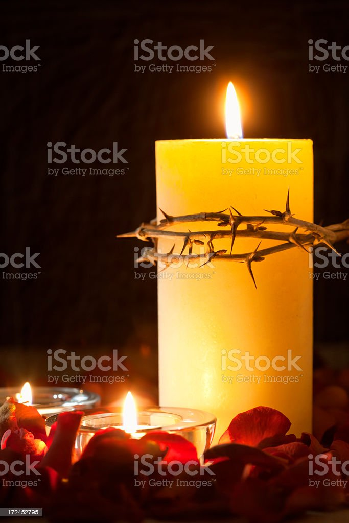 Church Candle and Crown of Thorns royalty-free stock photo