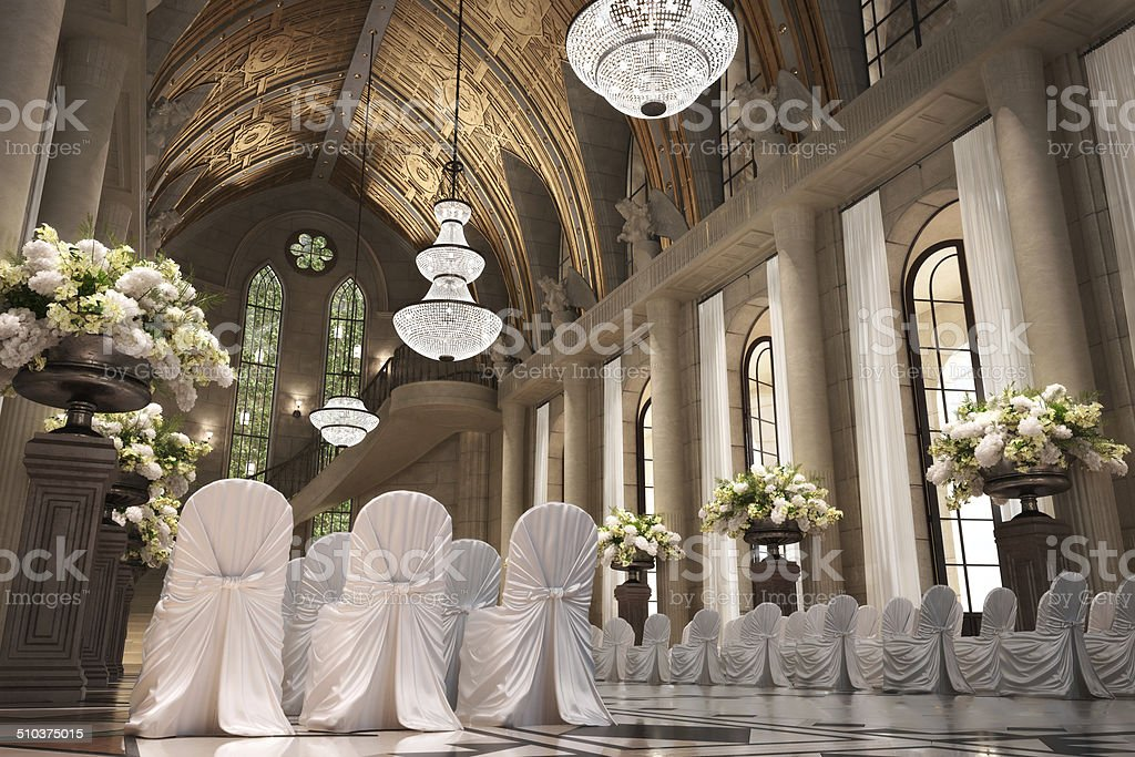 Church Cathedral wedding interior stock photo