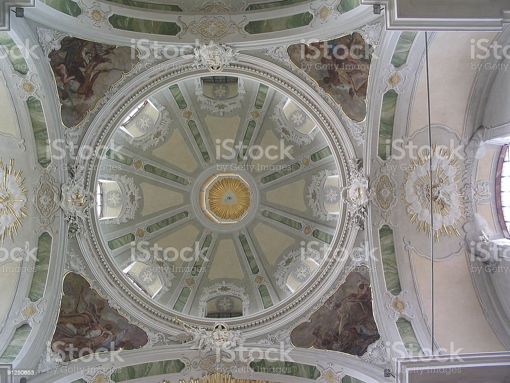 Church ceiling stock photo