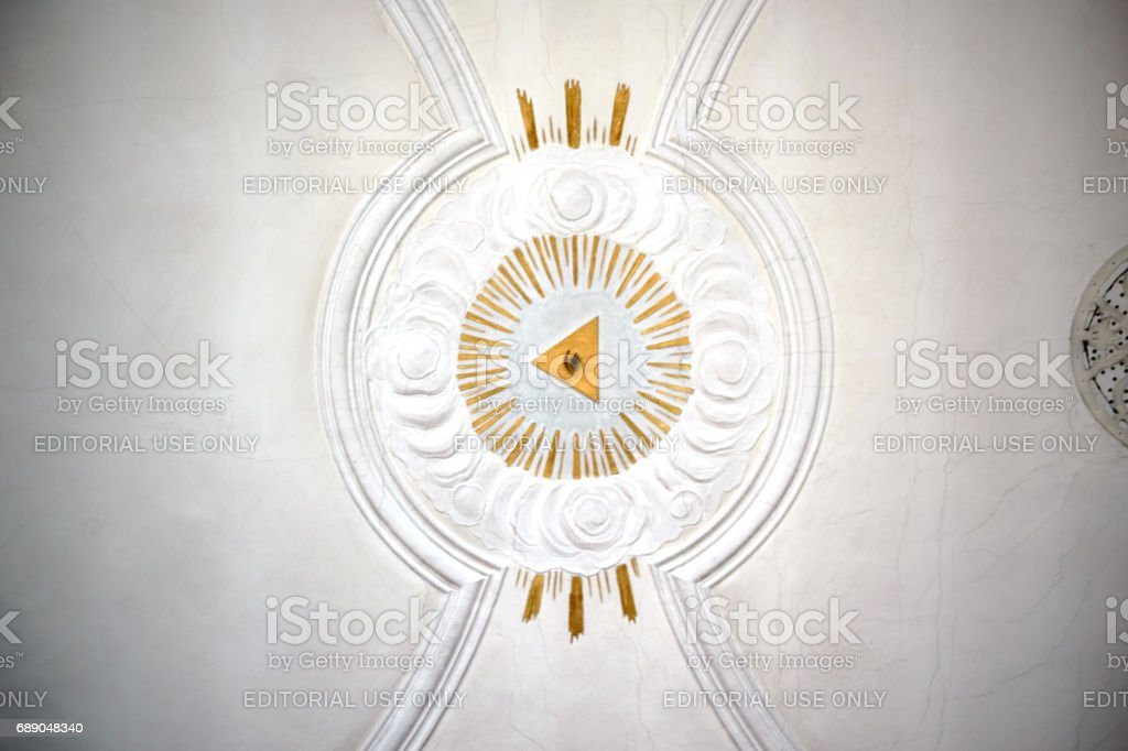 Church ceiling with all-seeing eye stock photo