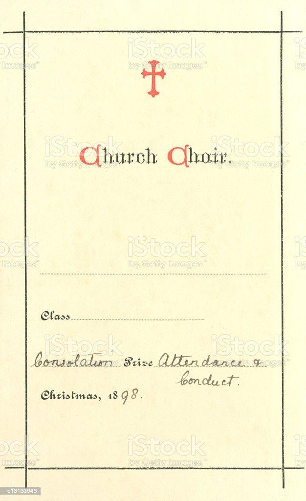 Church choir 'Consolation Prize' book label, 1898 stock photo