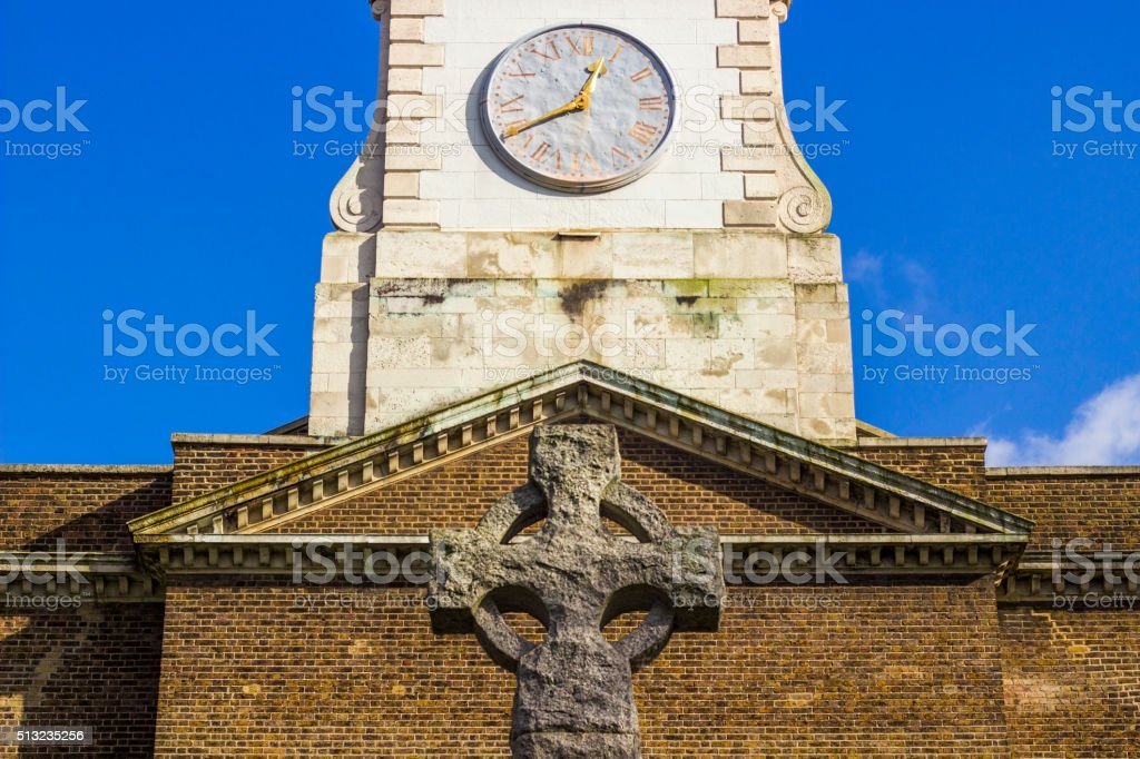 Church clock in Clapham common in London stock photo