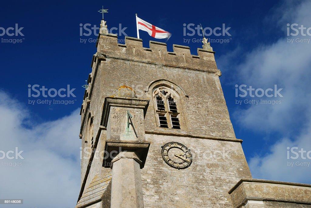 Church clock tower stock photo