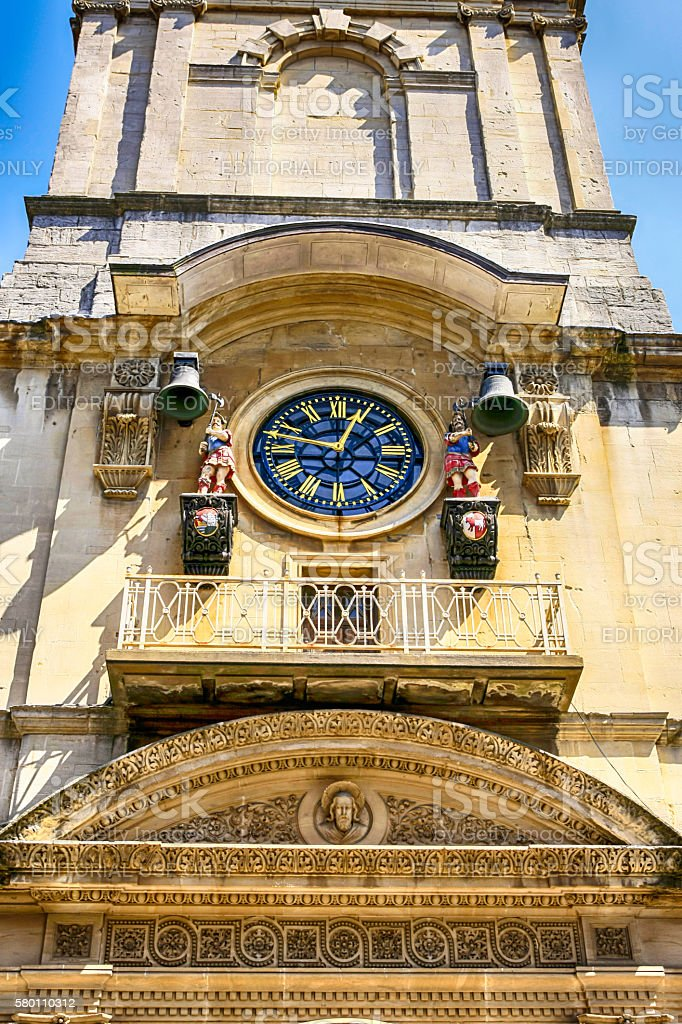 Church Clock with automotons in Broad Street Bristol UK stock photo