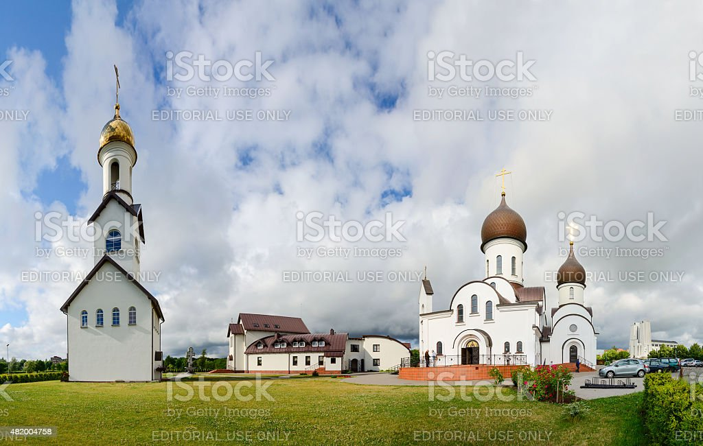 Church complex (Pokrovo- Nicholas Church, belfry and pilgrimage hotel), Klaipeda stock photo