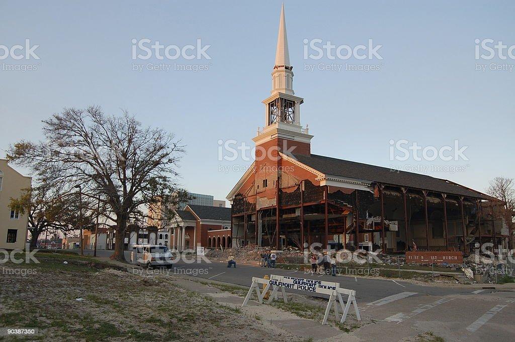 Church Damaged by Hurricane Katrina stock photo