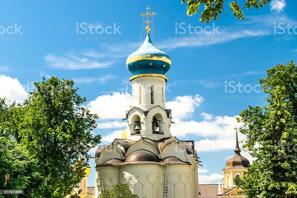 Church Descent of the Holy Spirit. Trinity St. Sergius Lavra. stock photo